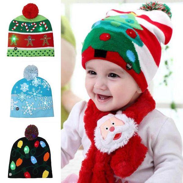 Christmas Hat LED-Licht Cartoon Weihnachtsmann Mütze hässliche Strickjacke Weihnachten Hut Beanie Light Up gestrickte Weihnachtsmann-Hüte für Kinder