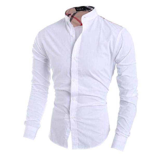 Summer Men Shirt Male Long Sleeve Shirts Casual Hit Color Slim Fit Black Man Dress Shirts
