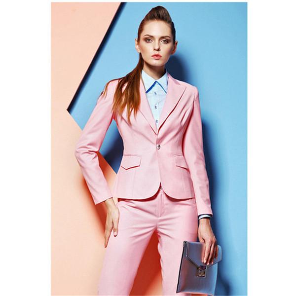 Women's suit two-piece suit (jacket + pants) women's pink fashion slim lady business office formal professional suit