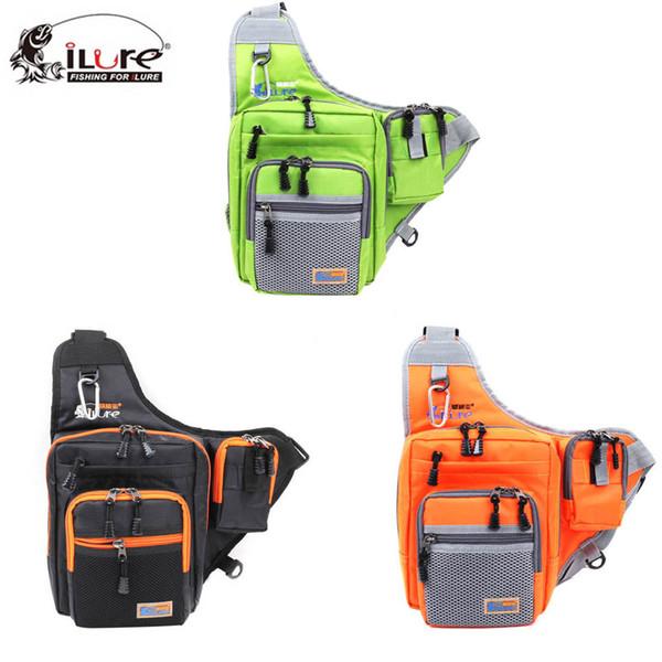 iLure Canvas Carp Fishing Reel Lure Tackle Bag Green/Orange/Black 32*39*12CM Multifunction Waterproof Shoulder Gear