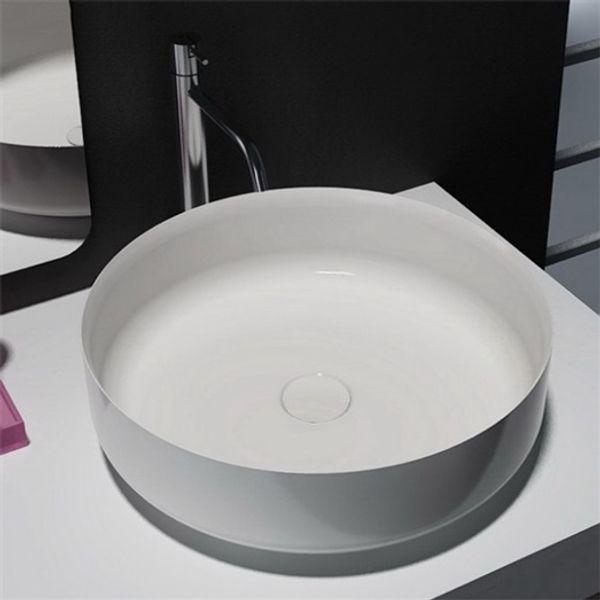 Lavabo Resina Blanco.Compre Moderno 18 Pulgadas Simplista Mate Blanco Recipiente Redondo Fregadero Cilindro Bano Lavabo Resina De Piedra Para Encimera De Bano A 184 92