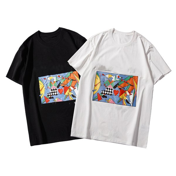 19SS summer new color oil painting horse printing men and women short sleeve fashion sports cotton round neck couple models student T-shirt