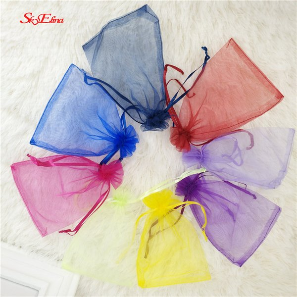 50pcs Organza Bags white Jewelry Packing Tulle fabric Wedding Gift Bags Eugen Gauze bag Packaging Pouches 6x8cm 9x14cm 6z