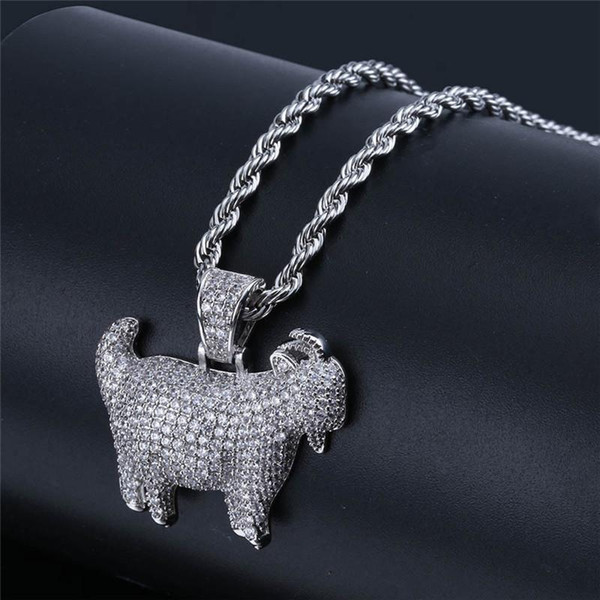Wholesale hot retro high quality cute goat pendant necklace charm men and women Bling zircon gold-plated hip hop jewelry free shipping