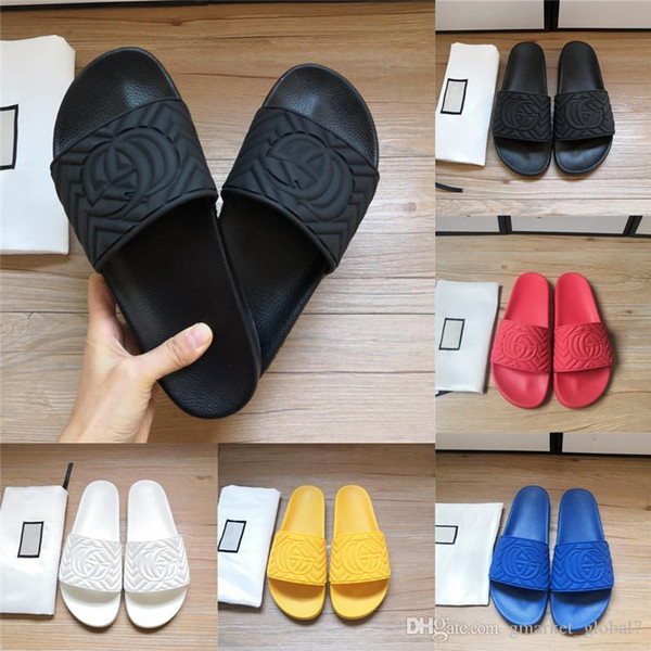 top popular New Women's Men's matelassé rubber slide Slides Sandals luxury designer shoes black white pink women men beach slippers with box 3 2020