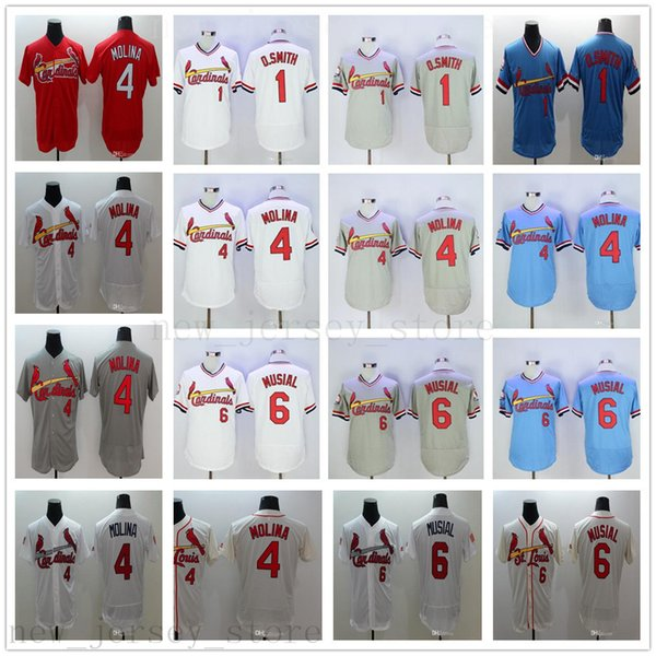 2019 Nuevos Ls Cardinals Jerseys de béisbol cosidos 1 Ozzie Smith 4 Yadier Molina 6 Stan Musial Jersey Rojo Azul Blanco Gris talla S-XXXL