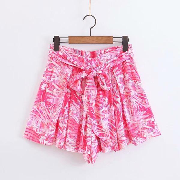 Urlaub Wind Frauen tropische Blätter drucken elastische Taille plissiert Bermuda Shorts Damen Schärpen Hot Pants Pantalones Cortos P392