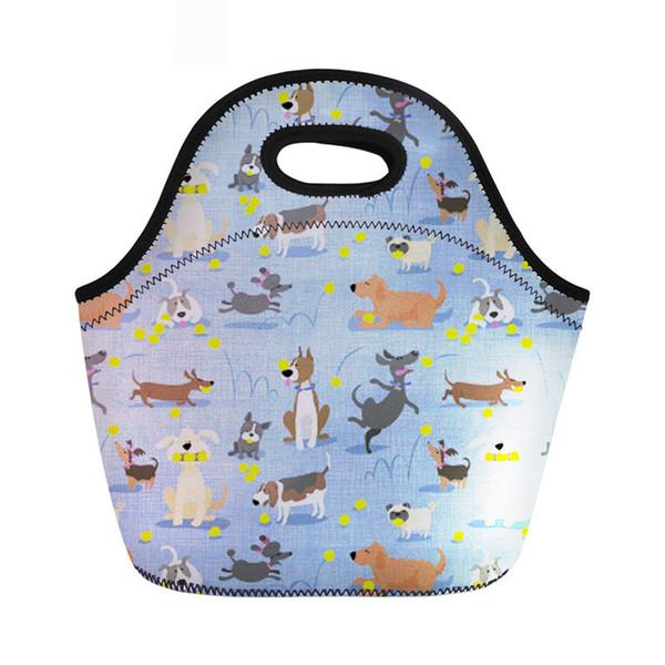 Sacchetto del pranzo del sacchetto del pranzo del bambino delle borse del sacchetto del pranzo del bambino delle borse del neoprene del cane sveglio per le ragazze dei bambini Bolsa Termica