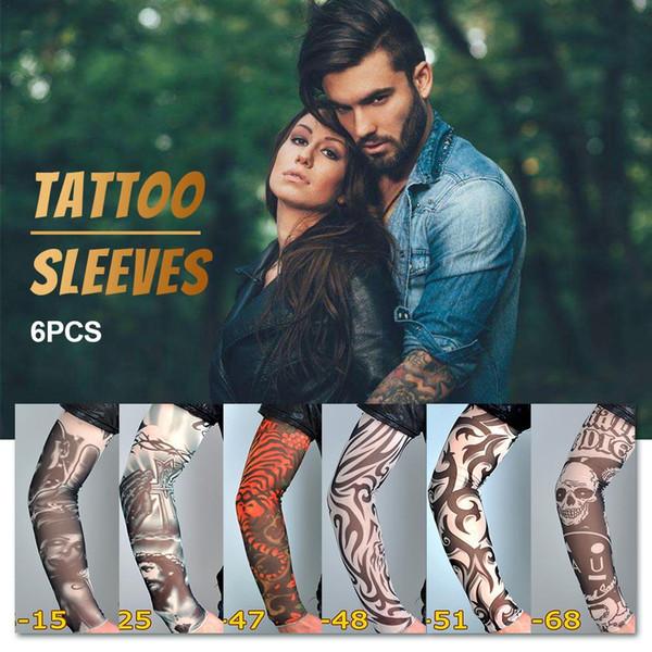 6 STÜCKE Tattoo Ärmel Blume Arm Tattoo Nahtlose Outdoor Reiten Eis Ärmel Teile Radfahren Fahrrad Abdeckung UV Laufen Arm Wärmer