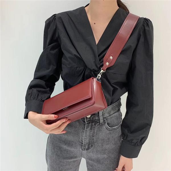 Female Wide Strap Casual Portable Single-shoulder Bag PU Leather Phone Coin Bag new trend Handbag Crossbody Messenger