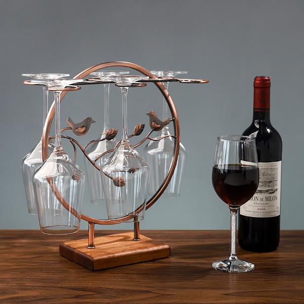 Support à 6 crochets en métal rouge pour bronze, verre à vin rouge, support, porte-verre à vin en fer forgé à l'envers Système de séchage à l'air