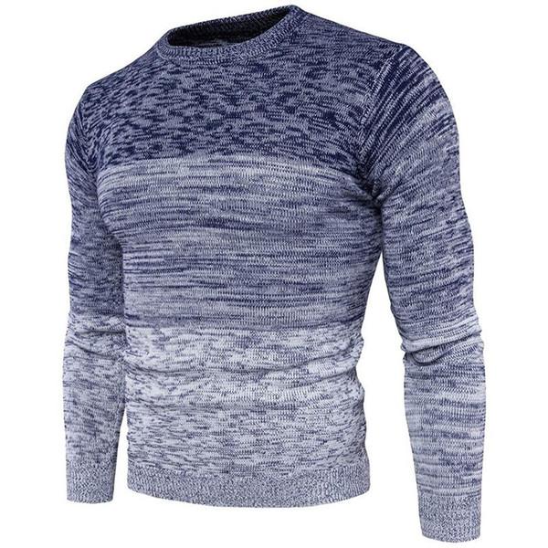 Осенняя мода Gradient Повседневного свитер O-образный вырез Slim Fit Вязание мужских свитера пуловеры Мужская M-3XL