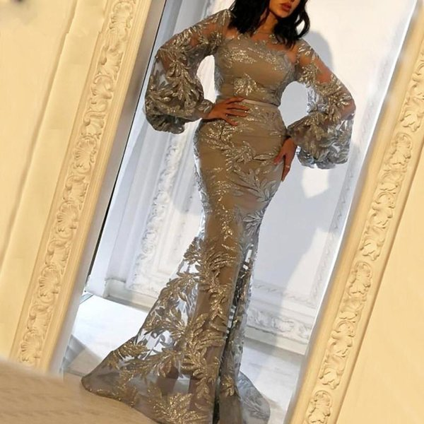 Dubai Árabe faísca mangas compridas sereia vestido de noite 2020 Lantejoulas Lace Millde Médio formal do partido vestido Robe de Soiree Prom
