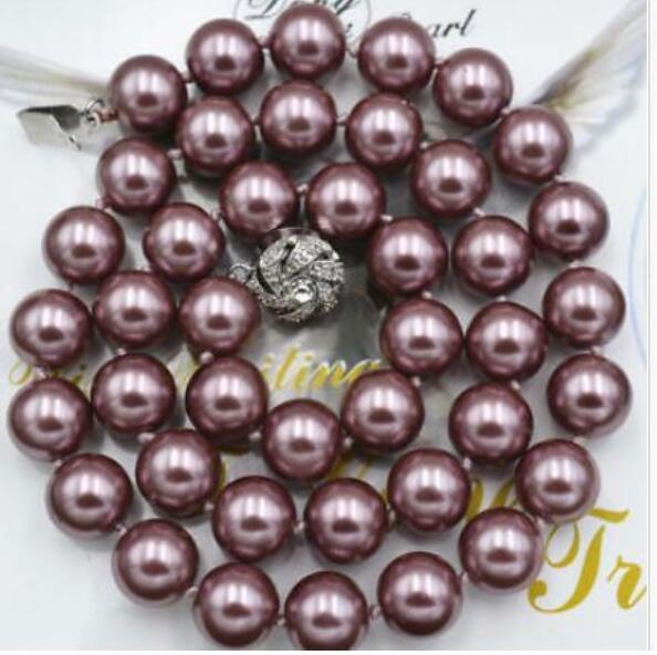 KOSTENLOSER VERSAND 10mm Dark Purple South Sea Shell Perlenkette 17