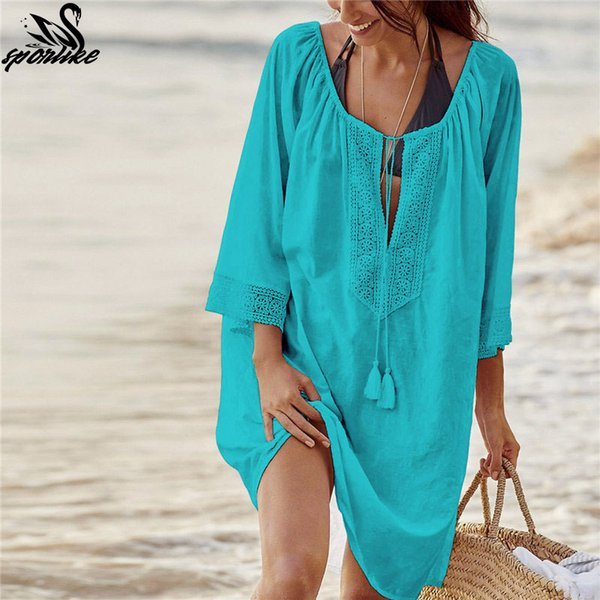 Bikini Cover Up Lace Hollow Crochet Tassel Swimsuit Beach Dress Mujeres 2019 Summer Ladies Cover-Ups Traje de baño Beach Wear Tunic