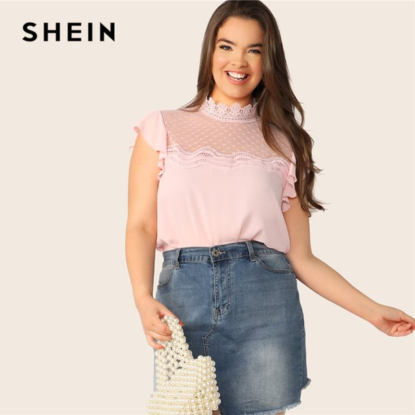 SHEIN Plus Size Pink Mesh Yoke Inserto de encaje Ruffle sisa superior Blusa 2019 Mujeres Verano Soporte Collar Blusas con botones