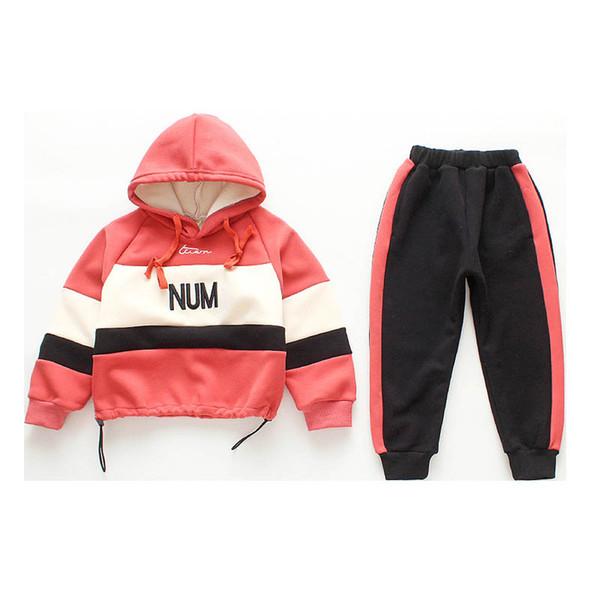 set erkek rahat uygun erkek giyim setleri eşofman eşofman 2019 Sonbahar Kış çocuklar + pantolon 2parça kapşonlu / set erkek giysileri perakende A9370