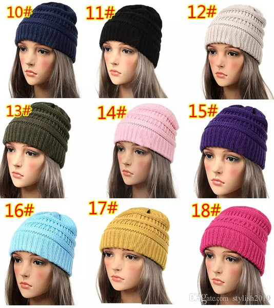 18 color knitted hat trendy beanie women chunky kull cap winter cable knit headgear louchy crochet hat