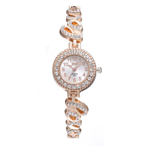 2019 luxury women ladies alloy metal women ladies gold color alloy metal diamond love shape simple design bracelet watches yoyowatch