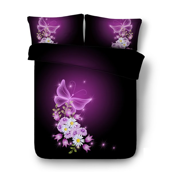 Purple coverlet Butterfly Pink Flower 3pc Duvet Cover Set With Zipper Closure 2 Pillow Shams Galaxy Comforter Cover Animal bed cover