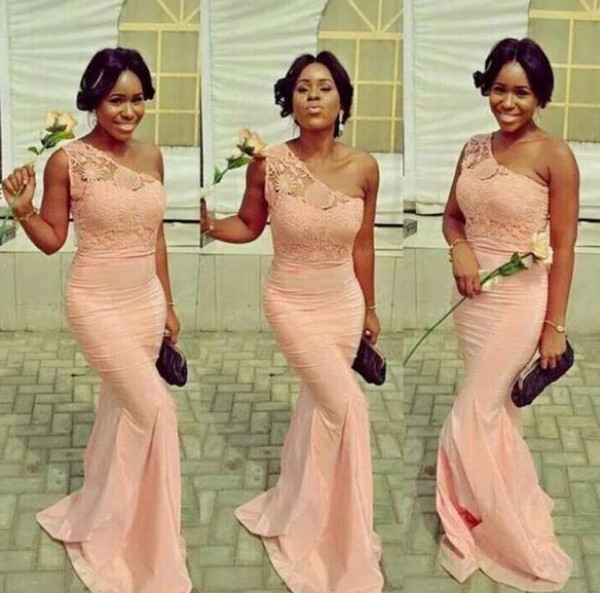 African Lace Mermaid Bridesmaid Dresses Sexy One Shoulder Peach Pastel Pink Maid Of The Honor Dresses Long Party Prom Gowns
