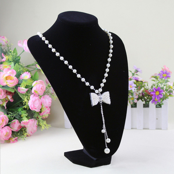Hot High Quality 15*10cm Velvet PVC Portrait Necklace Display Stand Holder Support Mannequin Bust Neck Jewelry Easel