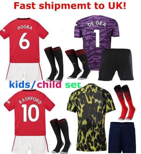 Fast shipment to UK! Kids football kits 2019 2020 Pogba manchester youth man child U goalkeeper de gea Soccer Jerseys united utd uniform