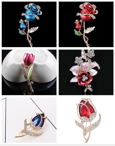 Fashion Flower Brooch for Women New Arrival Big Red CZ Crystal Rose Apparel Dress On Sale Statement Jewelry LUOTEEMI