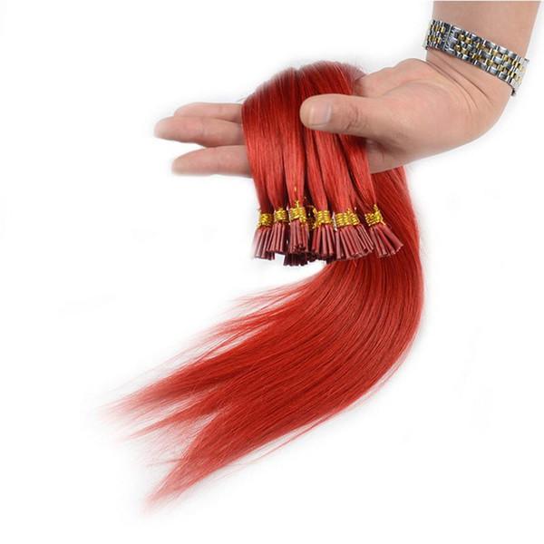 Pre legato I Estensioni brasiliane dei capelli umani di punta 0.5g / s100g 200Strands 14 16 18 20 22 prodotti dei capelli remy indiani diritti 24inch più colori