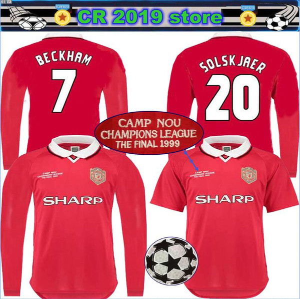 2019 1999 2000 Manchester Retro United Soccer Jerseys Red Uefa Final Beckham 1998 99 00 Giggs Football Shirts Retro Version Long Sleeve Jersey From