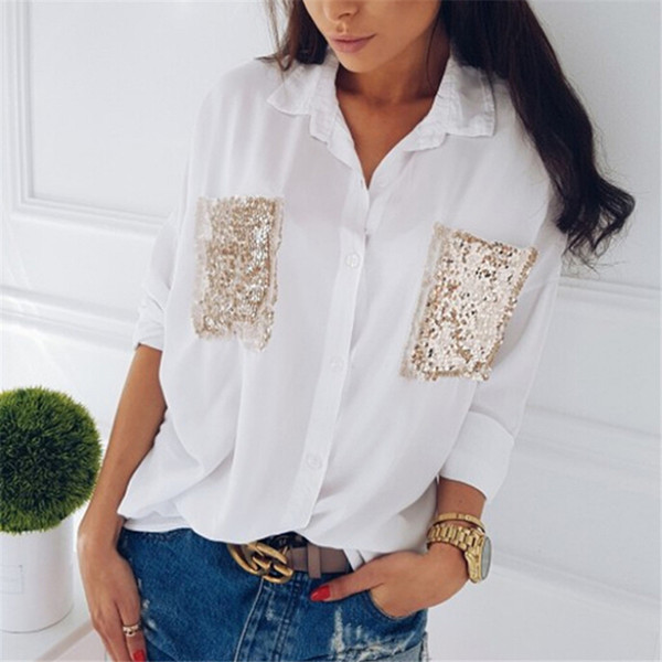 hirigin fashion women shirt casual long sleeve chiffon chest sequined pocket long sleeve blouses loose female blouse, White