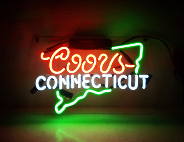 New Star Neon Sign Factory 14X9 Inches Real Glass Neon Sign Light for Beer Bar Pub Garage Room Coors Light CONNECTICUT.
