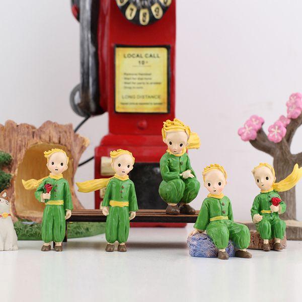 The Little Prince Resina Decoración de pasteles de dibujos animados para el hogar Artes y manualidades Escena creativa Macetas con flores Complementos a juego 4 5dyD1