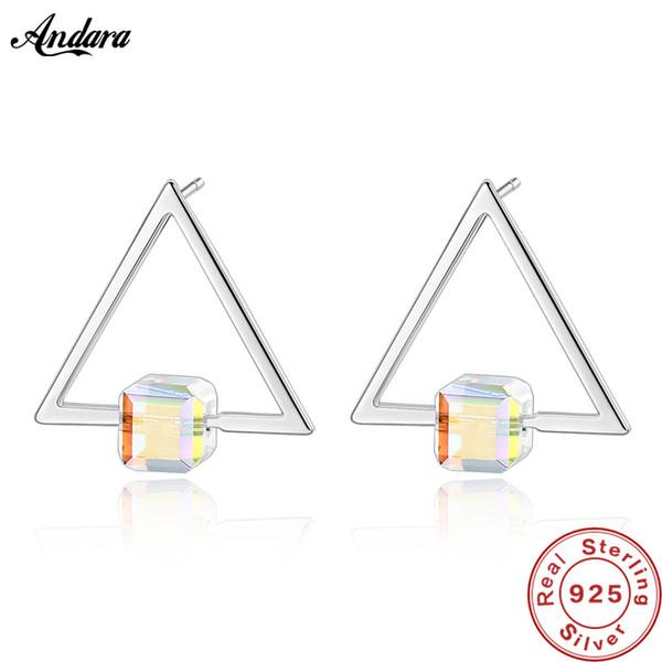 Benzersiz Kişilik S925 Saf Gümüş Kristal Üçgen Saplama Küpe Kadın Ayar-Gümüş-Takı Hediyeler
