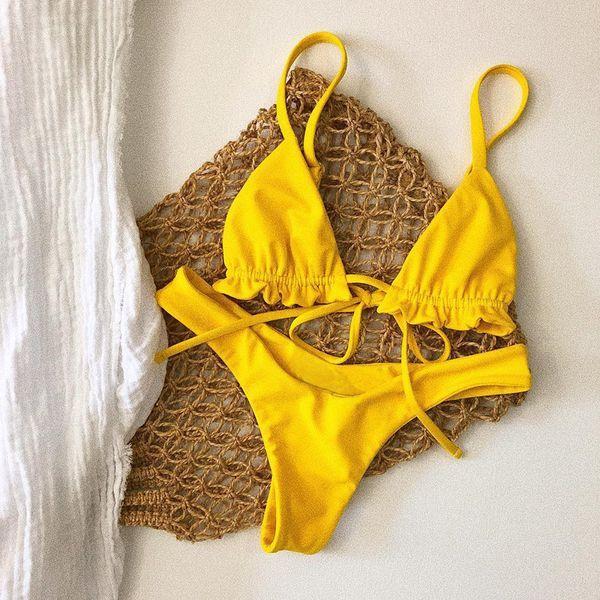 Strappy с низкой талией бикини Mujer желтый мини-стринги бикини бразильский сексуальный купальный костюм купальники женщины купальник Biquini девушки оптовая продажа S-L