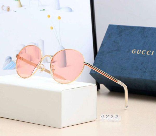 Fashion Mens Women Designer Sunglasses Luxury Sunglasses Polarized Goggle Glasses Model 0222 UV400 7 Colors Optional High Quality with Box