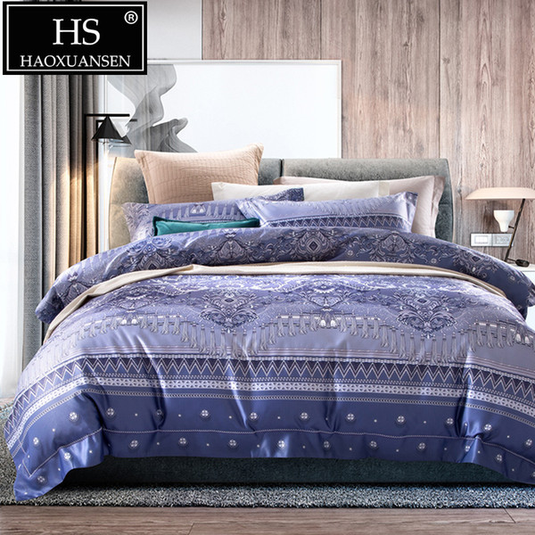 Baby Blue Digital Print Comforters Bedding Sets Retro Design 500 Thread Count Adult Bed Linen Set Queen King Size Cotton Bed Set
