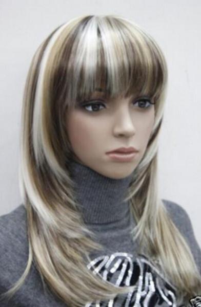 WIG WBY dd003247 mix center top de pele em linha reta sob o ombro longo peruca