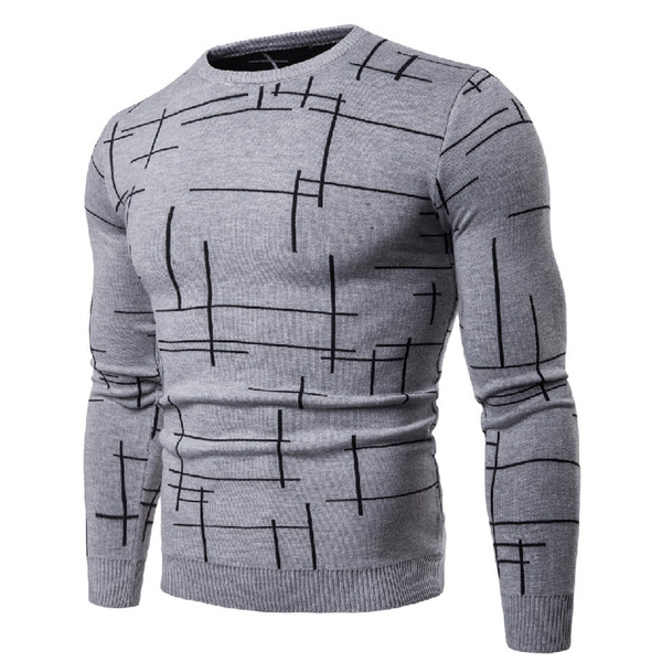 Cotton Men's Pullover Sweaters Autumn Casual Striped Knitted Sweater Men Slim England Style V-Neck Long Sleeve Men clothing 2XL