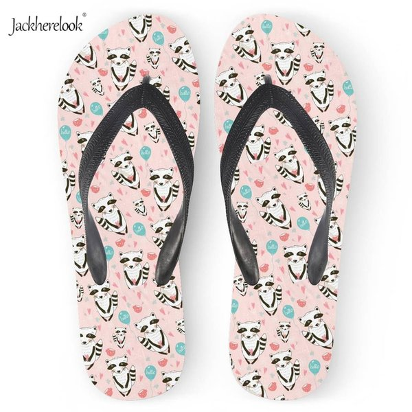 INSTANTARTS Fashion Women Non-slip Slippers Summer Woman Casual Shoes Female Flats Cute Printing Cartoon Raccoon Flip Flops Girl