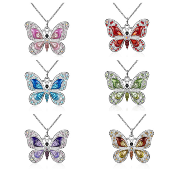 Fashion Pendant Necklaces diamond butterfly necklace European and American personality sweater butterfly jewelry Party FavorT2C5057