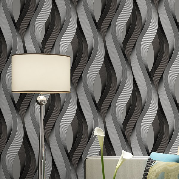 Black Grey White Metallic Texture 3d Wave Wallpaper Vinyl Quality Modern Luxury Wall Paper Roll Bikini Wallpapers Black Wallpaper From Xiuping2