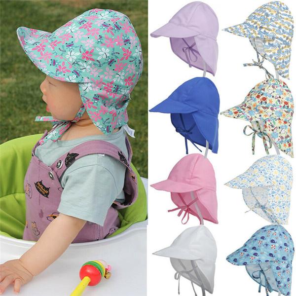 2019 Продажа Print Sun Шляпы малышей малышей лета младенца Caps Прекрасные Регулируемое Дети Мальчики Девочки 3М-5у-Бич Защита от солнца