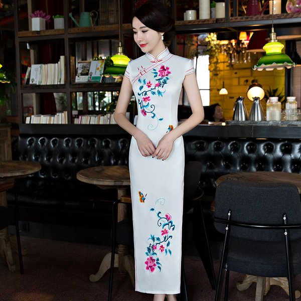 Shanghai Story Faux Silk Qipao dress Long Cheongsam national trend chinese style dresses Blue Traditional Chinese Dress for wome