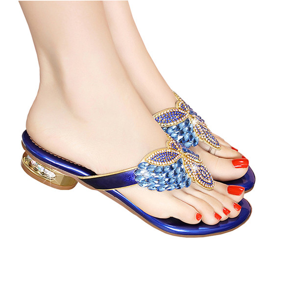 High quality Flip flops for women fashion Summer Crystal Diamond Bling low heel Beach Slides slippers