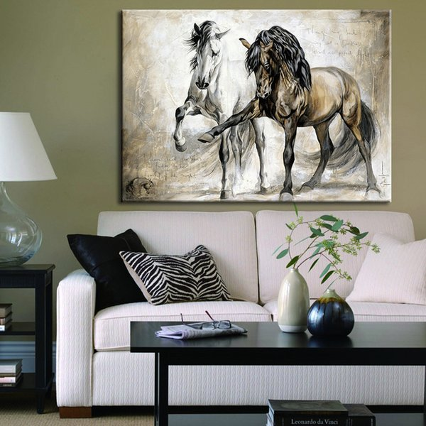 Wall Art Picture Canvas Painting HD Inkjet Animal Print For Living Room Home Decor The Two Running Horse No Frame Retro Style Wholesale