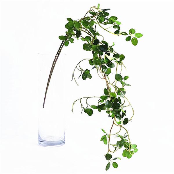 2019 Artificial Ficus Tree Vine Green Fake Plant Leaves Garden Decoration Twig Plastic Flowers Fleur Artificielle Faux Foliage