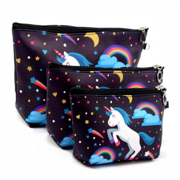 3 Sets Of Suits Unicorn Flamingo Cosmetic Bag Large Size Makeup Bag Necessaire Travel Bags Make Up Bag Toiletry