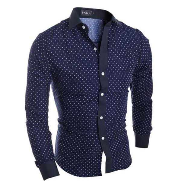 Camicia uomo maniche lunghe monopetto stampato a pois Camisa, collo risvoltato Slim Fit cotone Slim Fit camicia di alta qualità Top