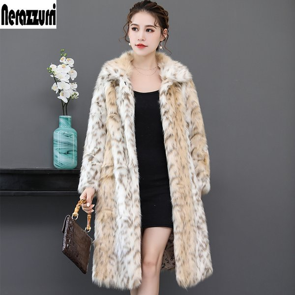 Nerazzurri Long leopard faux fur coat for woman raglan sleeve winter fake fur coat fluffy leopard print jacket big size 5xl 6xl SH190923